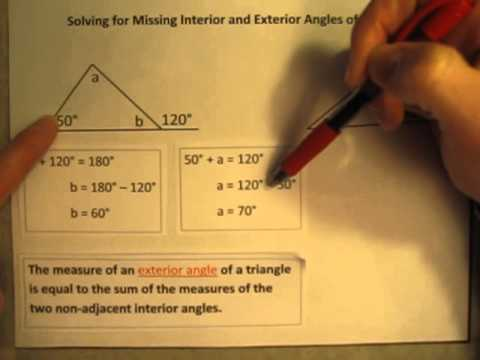 Solving for Missing Interior and Exterior Angles of Triangles