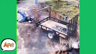 WOW! The Trailer TOOK Him AWAY! 😂   Funny Security Cam Fails   AFV 2021