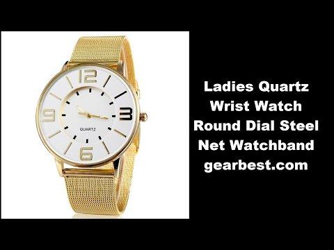 Review Ladies Quartz Wrist Watch Round Dial Steel Net Watchband