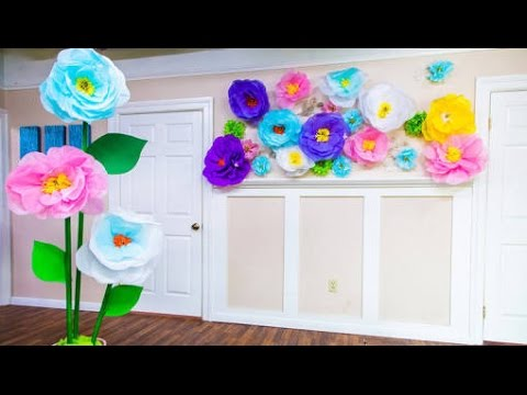 How to MAKE GIANT (HUGE) Tissue Paper FLOWERS