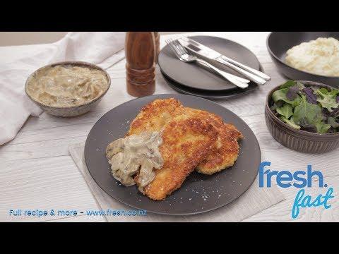 FreshFast Chicken Schnitzel with Mushroom Sauce