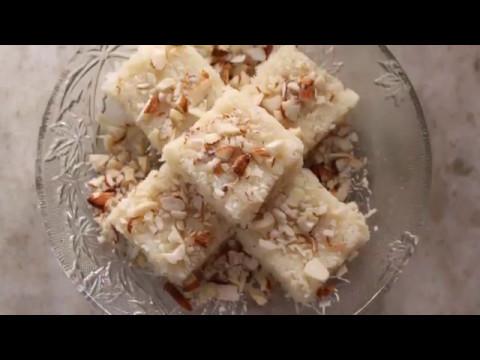 How to make coconut barfi with condensed milk-Quick Nariyal burfi recipe at home-IN HINDI