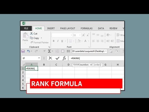 How to use Excel Rank Formula