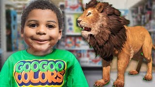 ZOO ANIMALS IN TOYS R US STORE! Learn Animal Sounds with Goo Goo Gaga Pretend Play Video