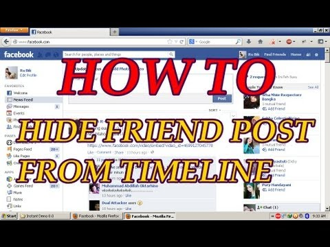 How to hide friend post from your facebook timeline