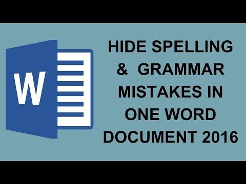 Hide Spelling &  Grammar Mistakes in one Word Document 2016   Tech Videos In Hindi