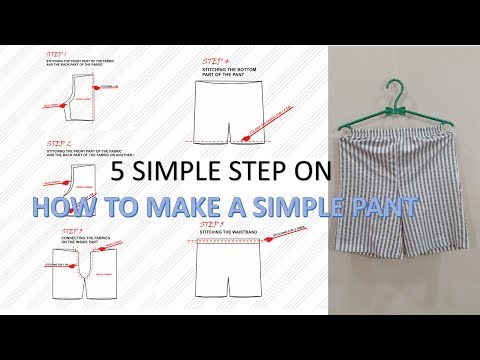 How to make an easy pants pattern and to sew a short pants step by step with portable mini sewing ma