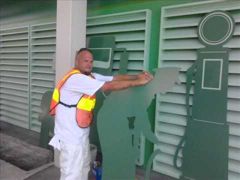 Painting a Gas Station and using a Portable Spray Booth