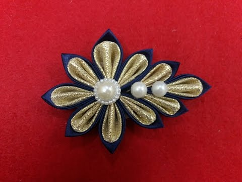 DIY. how to make Kanzashi brooch/flower03