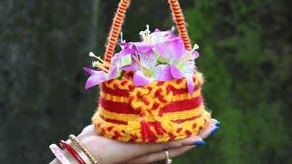 Wow ! Decorative Flower Basket | Woolen Craft | Easy Diy Craft | Diy Home Decor