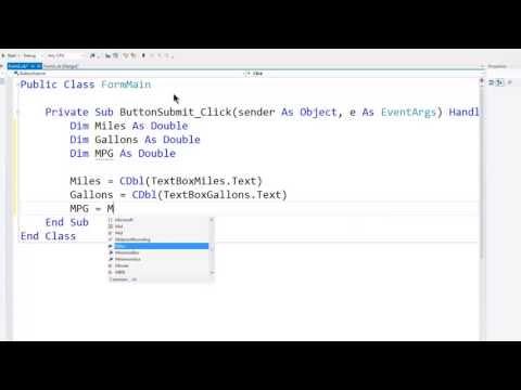 VB Express 2012 Desktop Tutorial 4 - MPG Calculator - Variables - User Input - Conversion