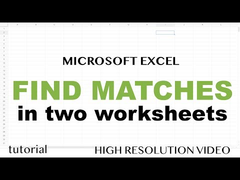 Excel - Find Matching Values in Two Worksheets, Tables or Columns Tutorial - Part 1