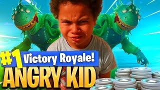 9 year old kid gets TROLLED and starts RAGING for DROPPING 0 KILLS in FORTNITE! *NEW* SKIN IS INSANE