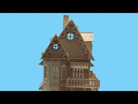 Woodcraft Construction Kit DIY, How to make a Wooden Gothic House