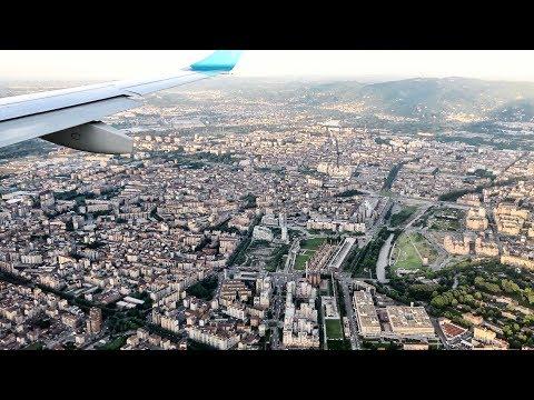 Crystal Clear Landing in Turin Airport. Flight Lufthansa LH9448 from Munich. Embraer ERJ-195LR