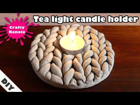 Air dry clay ideas - tea light candle holder 'knitted stone'