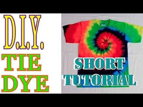 DIY Tie Dye Rainbow Spiral Shirt How to [Short Tutorial] #9