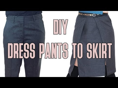 DIY Men's Dress Pants turned Double Slit Skirt Refashion