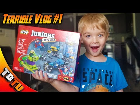 Terrible Dad Vlog E1 - Batman and Superman Lego Juniors! Building Lego's With Tiny Human!