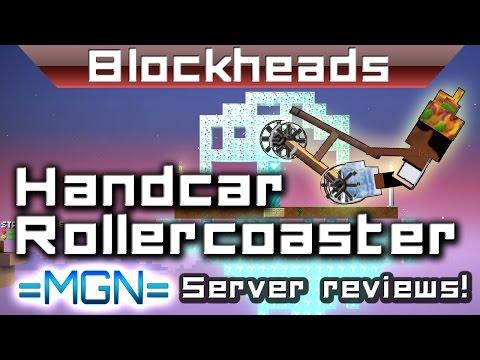 Blockheads 1.6 - The EPIC skylands loop! Handcar Rollercoasters!