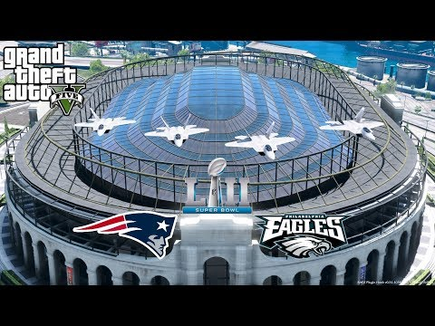 GTA 5 Superbowl 52 Flyover - United States Air Force F22 Raptors Formation Flying To National Anthem
