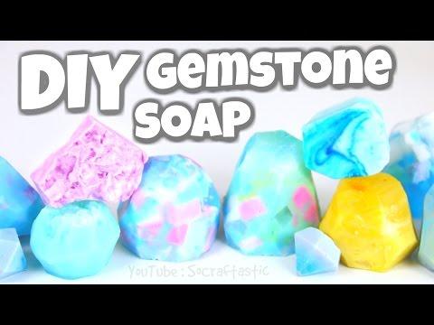 DIY GEMSTONE SOAP - Soap Making For Beginners | SoCraftastic