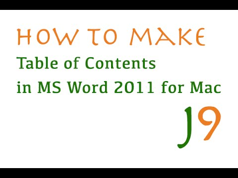 Tips: How to create a Table of Contents in Microsoft Word 2011 for Mac. [Please Share]