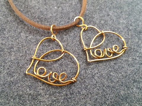 simple Love heart pendant - DIY wire jewelry 211