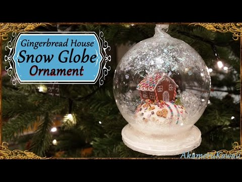 Gingerbread House Snow Globe/Ornament - Polymer Clay Tutorial