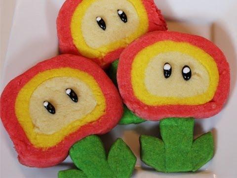 Super Mario Fire Flower cookies - Quake N Bake