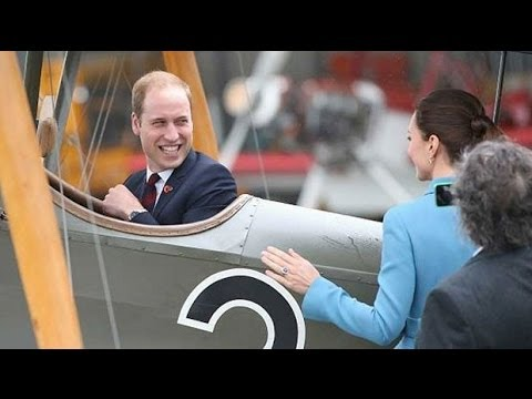 Royal tour: Duke of Cambridge plays fighter ace as Duchess looks on
