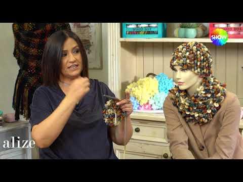 Alize Superlana Multicolor ile Bere Boyunluk-Making Hat and Cowl with Alize Superlana Multi Color