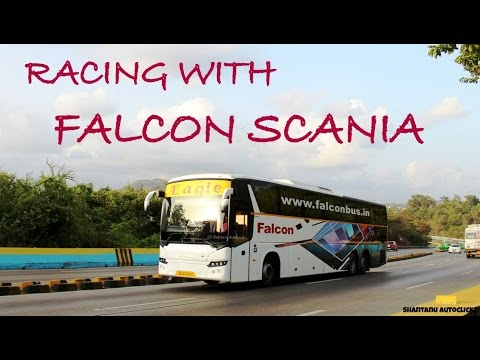 FALCON TRAVELS SCANIA MULTIAXLE racing with UDYAN EXPRESS