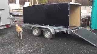 МЗСА 817732 двухосный прицеп для снегохода с откидным трапом и ЕВРО тентом. ЦЛП АРИВА