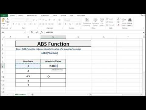 ABS Function in Excel - Absolute value of a number