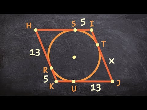 Geometry - Using the idea that two tangent lines from a point are equal find the perimeter of a sha