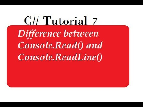 Difference Between ReadLine and Read Methods in C#