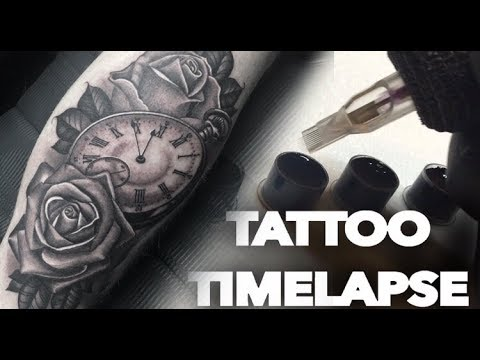 TATTOO TIMELAPSE | ROSE & POCKET WATCH | CHRISSY LEE