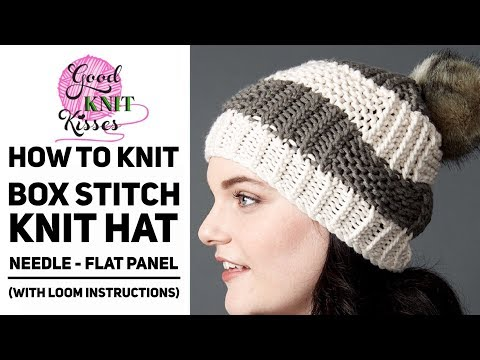 How to Knit a Box Stitch Knit Hat with Pompom - Great for team colors, too (CC)