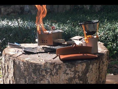 Making coffee using my Firebox Nano Stove, flint and steel fire, and MSR Titan Kettle