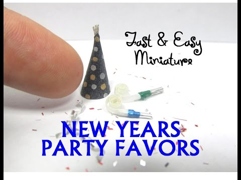 QUICK and EASY Paper Dollhouse Miniature New Years Party Hat and Noisemaker DIY tutorial