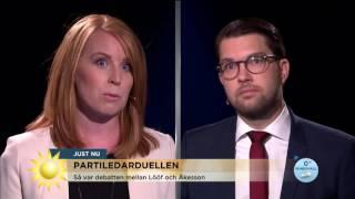 Hätsk duell mellan Lööf och Åkesson - Nyhetsmorgon (TV4)