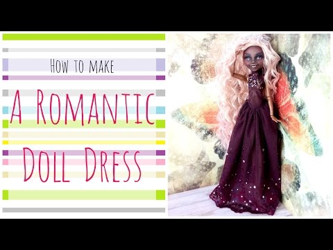 How to make a doll dress - Long Romantic Purple Dress for Monster High / Lace Rhinestones dress