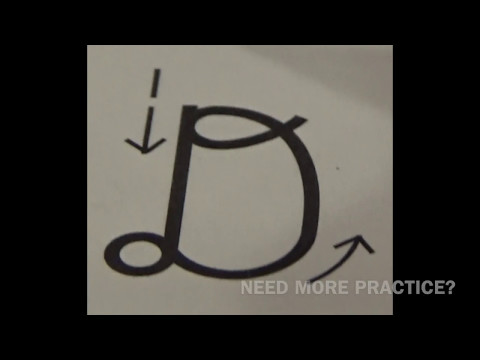 Cursive UPPER CASE letter D  with Ocean Sounds ( Handwriting, Writing, Penmanship)