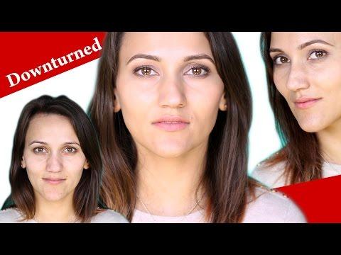 NATURAL MAKEUP tutorial for DOWNTURNED HOODED hazel eyes and brown hair