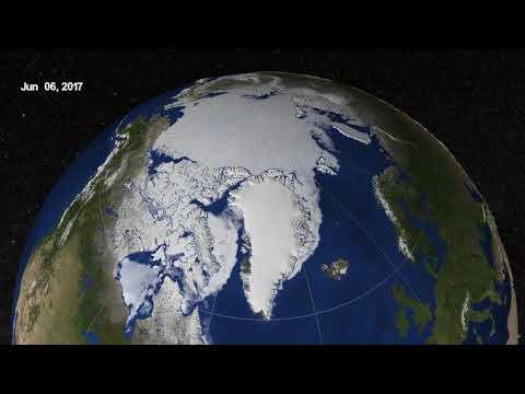 Gelo do mar do Ártico monitorado de março a setembro de 2017