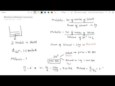 Molality to Molarity Conversion
