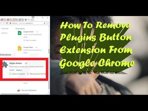 How To Remove Plugins Button Extension From Google Chrome