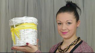 Pletení z papíru - Košík s kulatým dnem (Basket round bottom - Knitting paper) DiY