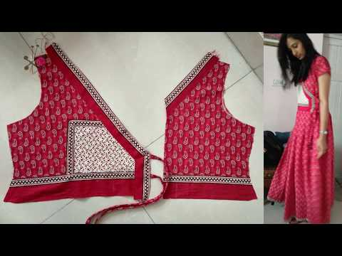 Angrakha Frock Gown cutting sewing | Latest Angarkha Suit Design in English